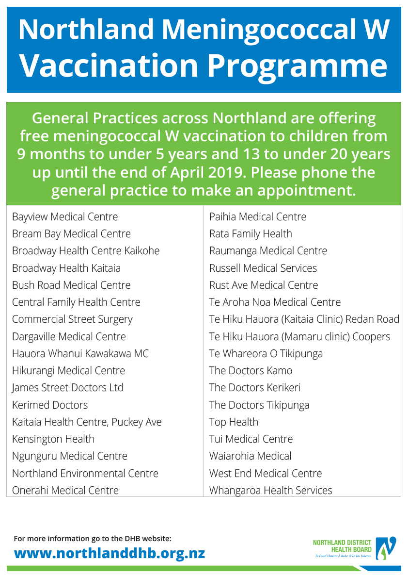 Calendrier Vaccinal 2020 Has.Northland Community Meningococcal W Outbreak Vaccination